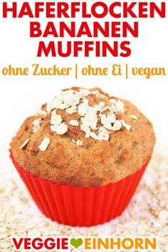 Vegan oatmeal banana muffins- Healthy Oatmeal BANANA MUFFINS without sugar and w. - Vegan oatmeal banana muffins- Healthy Oatmeal BANANA MUFFINS without sugar and without egg Banana Oatmeal Muffins, Healthy Banana Muffins, Vegan Oatmeal, Healthy Vegan Breakfast, Muffins Sains, Sugar Free Oatmeal, Healthy School Snacks, Vegan Recipes Easy, Smoothie Recipes