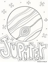 Jupiter colouring page plus other planets