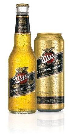 Cerveja Miller Genuine Draft, estilo Premium American Lager, produzida por Miller Brewing Company, Estados Unidos. 4.7% ABV de álcool.