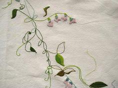 peas by At Swim-Two-Birds Thread Art, Ribbon Embroidery, Fiber Art, Light Colors, Needlework, Embellishments, Pillow Covers, Pastel, Textiles