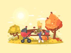 Mother with baby strollers by Anton Fritsler (kit8) #Design Popular #Dribbble #shots