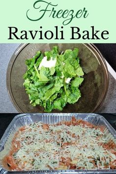 This six-ingredient ravioli bake is a make-ahead freezer meal that's full of cheese and spaghetti sauce! A great meal prep dinner for a cold day! Homemade Spaghetti Sauce, Homemade Sauce, Make Ahead Freezer Meals, Frugal Meals, Easy Dinners, Ravioli Bake, Easy Party Food, Healthy Pasta Recipes, Healthy Meals