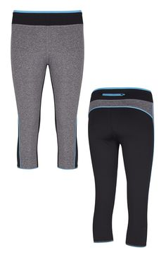 Leggings curtas azul e cinzento