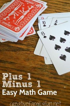 Practice your plus 1 minus 1 math facts with this fun math card game. It's a great way to practice math at home with your kids. Easy Math Games, Math Card Games, Card Games For Kids, Math Activities For Kids, Math For Kids, Kindergarten Math Games, Ea Games, Math Night, Math Addition