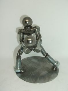 Volleyball Player, Metal Figurine, Upcycled Metal Art Trophy Display Case, Pressed Metal, Metal Figurines, Welding Art, Volleyball Players, Paper Weights, Metal Art, Are You The One, Upcycle