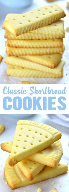 Classic shortbread cookies recipe uses only three ingredients: salted butter, powdered sugar and flour. If you add a hint of vanilla extract, you'll have the best shortbread cookies ever - Easy Shortbread Cookies nachspeisen Easy Shortbread Cookies Recipe Easy Shortbread Cookie Recipe, Shortbread Recipes, Easy Cookie Recipes, Yummy Cookies, Baking Recipes, Dessert Recipes, Butter Shortbread Cookies, Cake Cookies, Sandwich Cookies