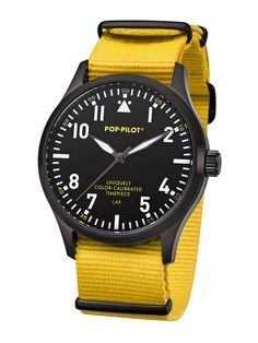 POP-PILOT watches  LAX with a neon yellow nato strap and a black casing