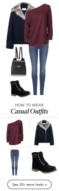 """Coold"" by amelia-1sasha1 on Polyvore featuring Carven, Timberland, 7 For All Mankind and WithChic"