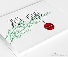 Funny Christmas Card Holiday Card Well Hung