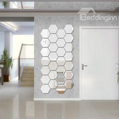 Unique 6-Side Shapes 7-Piece DIY Acrylic Removable Mirror Surface 3D Wall Sticker