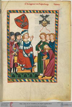 Das Amt des Burggrafen von Regensburg, ein Reichslehen, hatten bis 1184/85 die Grafen von Stevening und Rietenburg inne. Der bei der Ausübung der Gerichtsbarkeit dargestellte Minnesänger ist wohl Heinrich III. (1126-1177 bezeugt), der bedeutendste Vertreter seines Geschlechts.