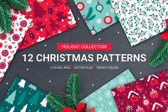 12 Christmas Seamless Patterns by miumiu on @creativemarket
