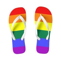 Gay Pride LGBT Rainbow Flag Flip Flops (140 RON) ❤ liked on Polyvore featuring shoes, sandals, flip flops, rainbow footwear, rainbow flip flops, rainbow sandals and rainbow shoes
