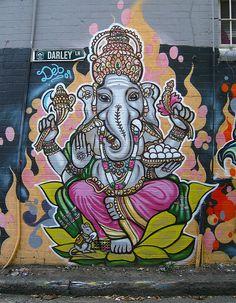 Ganesha elephant by Deb in Sydney. (Very big fan of Ganesh-Kev) Graffiti Art, Psy Art, Inspiration Art, Bedroom Inspiration, Art Archive, Hindu Art, Outdoor Art, Mural Art, Chalk Art