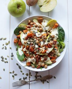 Sweet Potato and Apple Salad with Miso Dressing