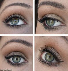 MAC Bare Study up to brow as a base; Sumptuous Olive on the inner half of the lid, Satin Taupe on the outer half of the lid and along the outer lower lashline, Tête à Tint (or Soft Brown + MUG Peach Smoothie) in the crease blended up towards the brow, Shroom as highlight.
