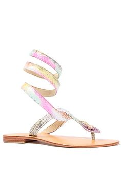 The Snake Ankle Wrap Sandal in Rainbow by Cocobelle  82.95 sale