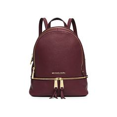 Michael Kors Rhea Small Leather Backpack, Merlot (6 895 UAH) ❤ liked on Polyvore featuring bags, backpacks, backpack, merlot, backpacks bags, leather backpack, michael kors, red bag and leather knapsack