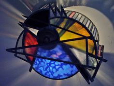 Abstract flush mount stained glass fixture