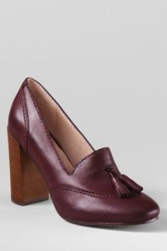Women's Stowe High Heel Tassel Shoes from Lands' End.  Work Shoes. In black With a tassel!
