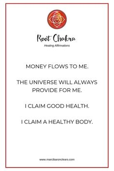 Our Root Chakra represents our foundation and feeling of being grounded. These 20 affirmations will heal your Root Chakra and raise its vibration. Chakra Healing Meditation, Throat Chakra Healing, Yoga Meditation, Kundalini Yoga, Pranayama, Healing Affirmations, Morning Affirmations, Daily Affirmations, Chakra Raiz