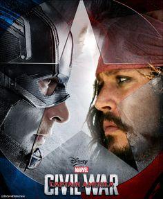@MrSmithMachine Captain America vs Captain Jack Captain Jack Rum, Captain America, Marvel, Movie Posters, Fictional Characters, Capitan America, Film Poster, Film Posters, Fantasy Characters