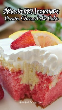 Poke Cake Recipes, Delicious Cake Recipes, Yummy Cakes, Yummy Treats, Yummy Food, Strawberry Cheesecake Poke Cake Recipe, Sweet Treats, Tasty, Jello Poke Cakes