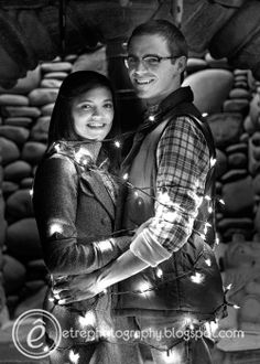 Christmas card picture idea! @Kelly Chaires-hill - u think we should do the pictures at night in black and white, this is really cute