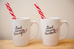 Aren't these just the most adorable coffee mugs you have ever seen? Description from blog.afteryesweddings.com. I searched for this on bing.com/images