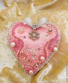 """Купить Набор елочных украшений """"Зимняя нежность"""" - розовый, сердце, ключик, Новый Год"""