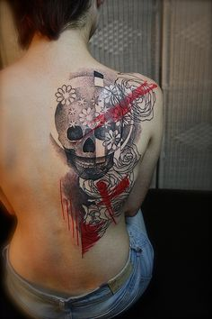 Trash Polka Style Dotwork Skull and Flowers Tattoo
