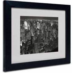 Trademark Fine Art Night Skyline Framed Canvas Art by Chris Bliss, Size: 11 x 14, Multicolor