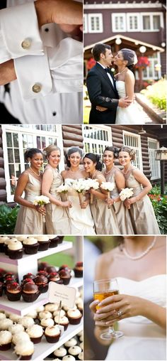 i love the neutral/champagne colored bridesmaids dresses