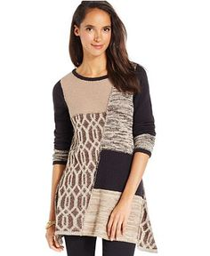 Style & Co. Patchwork Tunic Sweater - Sweaters - Women - Macy's