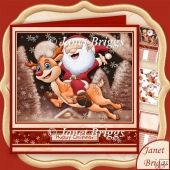 SANTA'S CHRISTMAS FLIGHT 7.8 Decoupage & Insert Mini Kit Tri Fold Cards, Slider Cards, Pocket Cards, Folded Cards, Stepper Cards, Wine Bottle Tags, Bead Embroidery Patterns, Shaped Cards, Tent Cards