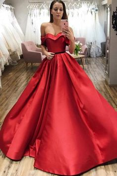Buy Red Ball Gown Off the Shoulder V Neck Satin Prom Dresses, Evening Dresses online.Shop short long ombre prom, homecoming, bridesmaid evening dresses at Couture Candy Cocktail party dresses, formal ball gowns in ombre colors. Prom Dresses With Pockets, Straps Prom Dresses, Tulle Prom Dress, Red Ball Gowns, Ball Dresses, Make Your Own Dress, Evening Dresses, Formal Dresses, Wedding Dresses