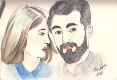 she and him. #love #draw #illustration #watercolor #she #him