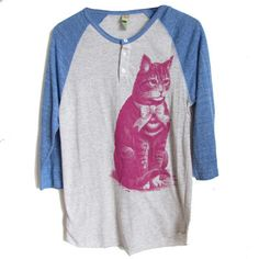 Seated Cat Baseball Tee Unisex, $48, now featured on Fab.