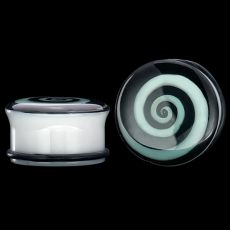 Single Flared Hypno Glow White Acrylic Plug - 2G - 1 - Sold Individually | This glow-in-the-dark, hypnotic swirl plug is so much fun to wear! The plug is white, high-shine acrylic for beauty and easy wearing. Since acrylic is a non-porous material, cleaning this plug is easy, too. An O-ring comes with this single flared plug that ensures a comfortable, secure fit and easy-on/easy-off capability.