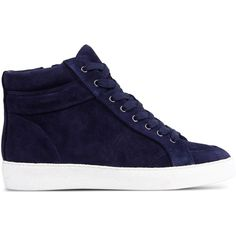Sam Edelman High-Tops ($58) ❤ liked on Polyvore featuring shoes, sneakers, dark blue, round cap, dark blue shoes, leather high top sneakers, flat sneakers and leather shoes