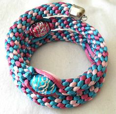 Kumihimo Wrap Bracelet with Beads Blues Pinks   eBay $8.28