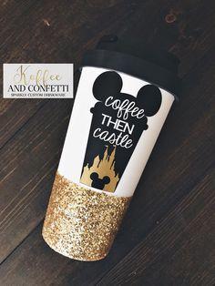 coffee then castle - glitter dipped water bottle