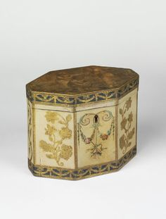 """1780-1800 British Tea caddy at the Victoria and Albert Museum, London - From the curators' comments: """"Since tea caddies were placed on the table as tea was served, they were often highly decorative....This caddy may have been bought as a blank and decorated at home because the decoration combines painted floral swags, cut-out paper flower shapes, and a print showing childen playing games glued to the lid."""""""