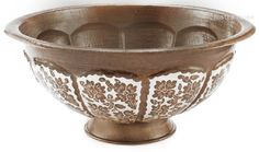 Folk art copper vessel sink with silver plated pattern by #RusticaHouse #myRustica.