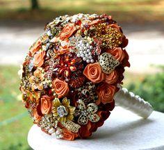 Autumn brooch wedding bouquet Burnt orange amber by annasinclair, $75.00