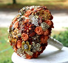 Autumn brooch wedding bouquet Burnt orange amber by annasinclair, $75.00