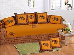 Odishabazaar 8 Pcs Elephant Indian Art Print Diwan set with 5 cushion and 2 bolster covers and 1 bedsheet Odishabazaar http://www.amazon.com/dp/B016TOQMDY/ref=cm_sw_r_pi_dp_aIQ5wb0PQAX3S