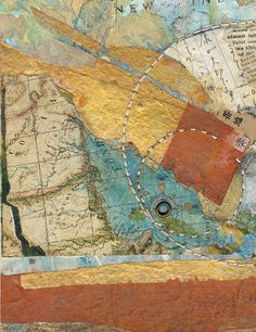 "Mixed Media : ""Map I"" (Original art by Sharmon Davidson) Paper Collage Art, Collage Art Mixed Media, Altered Books, Map Design, Mail Art, Art Forms, Fiber Art, Original Art, Tutorials"