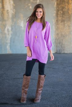 Slouchy Dolman Tunic, Violet - The Mint Julep Boutique (Large)