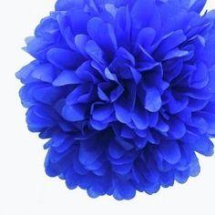 Royal Blue Mini Tissue Paper Pom Poms - Pack of 8